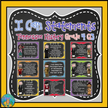 I Can Statements for Tennessee History Grade 4 Third Quarter Chalkboard Brights