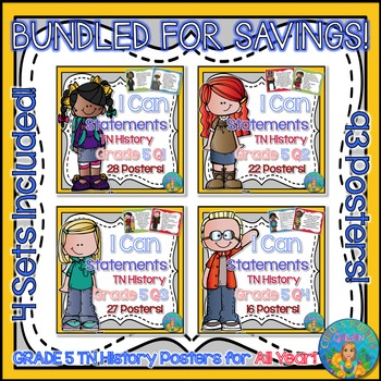 I Can Statements for Tennessee History Grade 5 All Year Bundled for Savings!