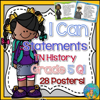 I Can Statements for Tennessee History Grade 5 First Quarter Rainbow Brights