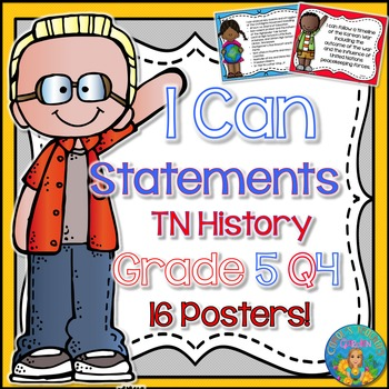 I Can Statements for Tennessee History Grade 5 Fourth Quarter Rainbow Brights