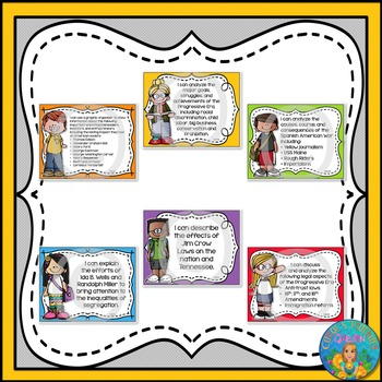 I Can Statements for Tennessee History Grade 5 Second Quarter Rainbow Brights
