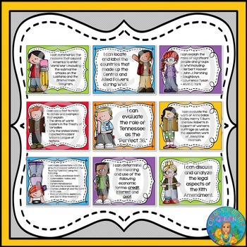 I Can Statements for Tennessee History Grade 5 Third Quarter Rainbow Brights