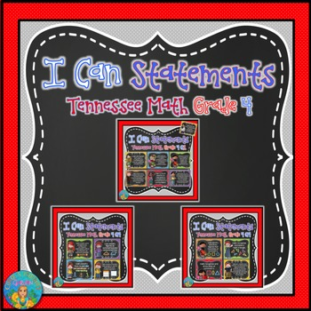 I Can Statements for TN and Common Core Math Grade 4 All Year Bundle!