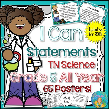 I Can Statements for Tennessee Science Grade 5 All Year Rainbow Brights