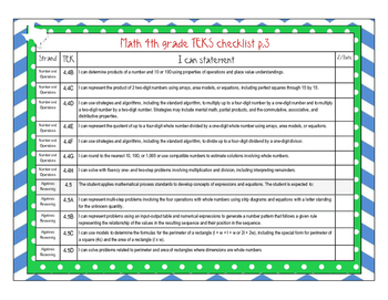 I Can Statements for Texas 4th Grade Mathematics