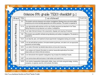 I Can Statements for Texas Fifth Grade Science