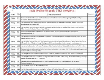 I Can Statements for Texas Fifth Grade Social Studies