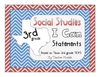 I Can Statements for Texas Third Grade Social Studies