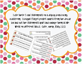 I Can Statements for display from the Common Core