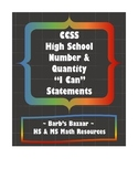 """""""I Can"""" Statements for high school Number & Quantity CCSS"""