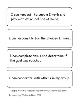 I Can Statements for social studies standards