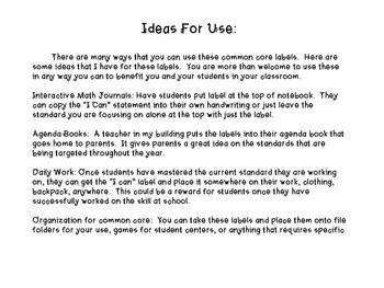 "Interactive Math Journal ""I can"" labels 4th Grade Math-ccss"