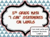 "Interactive Math Journal ""I can"" labels 5th Grade Math-ccss"