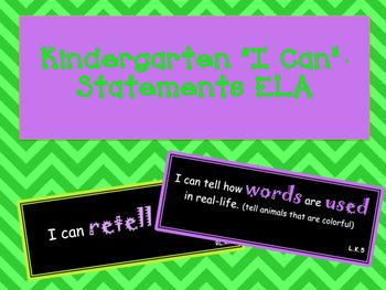 I Can Statments Common Core Kindergarten ELA