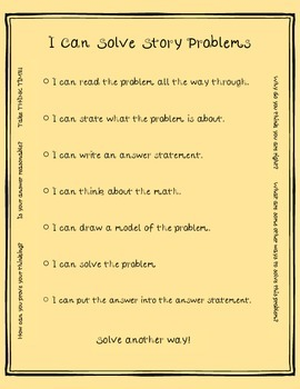 """""""I Can"""" Story Problem Checklist and activity"""