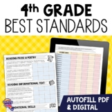 """I Can"" Student Checklists for 4th Grade Florida Standards LAFS MAFS NGSSS"