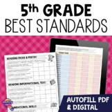 """I Can"" Student Checklists for 5th Grade Florida Standards LAFS MAFS NGSSS"