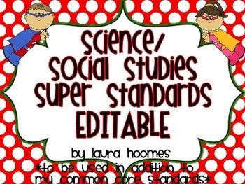 I Can Super Standards- EDITABLE Science/Social Studies