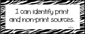 I Can Technology Statements Zebra Print