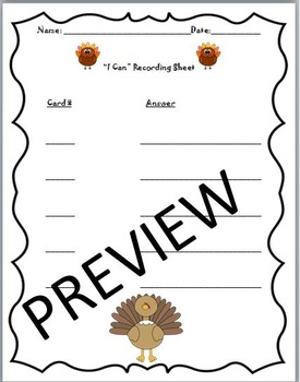 I Can Math Task Cards Turkey Theme Addition,Odd Even,Place Value...