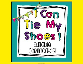 I Can Tie My Shoes Certificate (Editable)