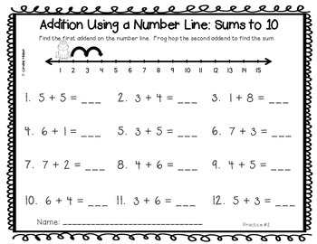 I Can Use a Number Line:  A number sense, addition, & subtraction pack