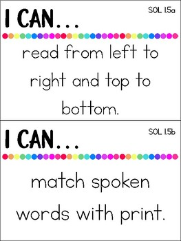 I Can VA First Grade Learning Targets For All Subjects