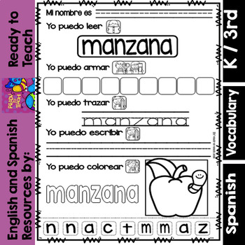 I Can - Word Work in Spanish - Freebie