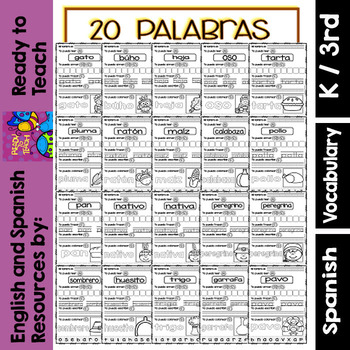 I Can - Word Work in Spanish - November Set