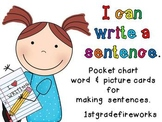 I Can Write A Sentence...Pocket Chart Picture & Word Cards