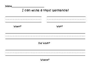 I Can Write A Topic Sentence
