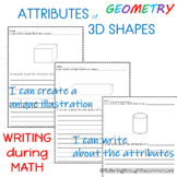 Shapes  Worksheets Attributes of 3D Shapes  Integrating Writing and Math