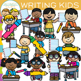 School Kids Writing Clip Art {Whimsy Clips School Clip Art}