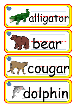 I Can Write Collection #6- Zoo Animals (Picture Word Cards)