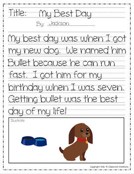 Writing Center for Elementary Grades Includes Activities and Printables