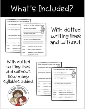I Can Write My First and Last Names Activity Page
