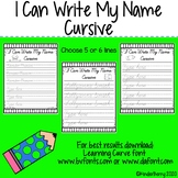 I Can Write My Name Cursive Handwriting Practice EDITABLE {Distance Learning}