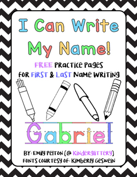 I Can Write My Name! FREE Practice Pages for First & Last Name Writing