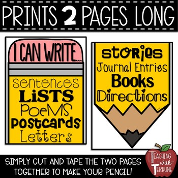 I Can Write...Pencil Poster for your Writing Bulletin Board