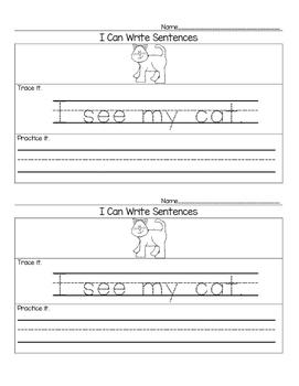 I Can Write Sentences FREEBIE