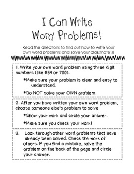 """I Can Write Word Problems"" Math Center Freebie"