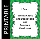 I Can...Write a Check, Deposit Slip, and Balance a Checkbook