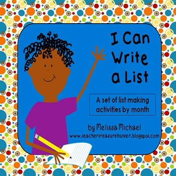 Writing Lists * I Can Write a List! ~Monthly writing prompts for list making K-3