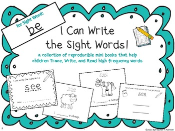 """I Can Write the Sight Word BE"" Mini Book"