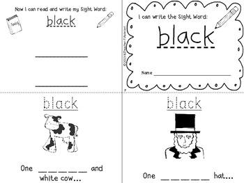 """I Can Write the Sight Word BLACK"" Mini Book"