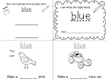 """I Can Write the Sight Word BLUE"" Mini Book"