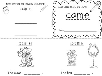 """""""I Can Write the Sight Word CAME"""" Mini Book"""