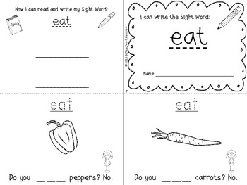 """I Can Write the Sight Word EAT"" Mini Book"