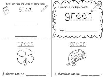 """I Can Write the Sight Word GREEN"" Mini Book"