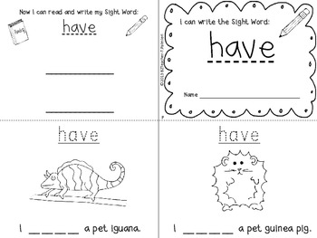 """""""I Can Write the Sight Word HAVE"""" Mini Book"""